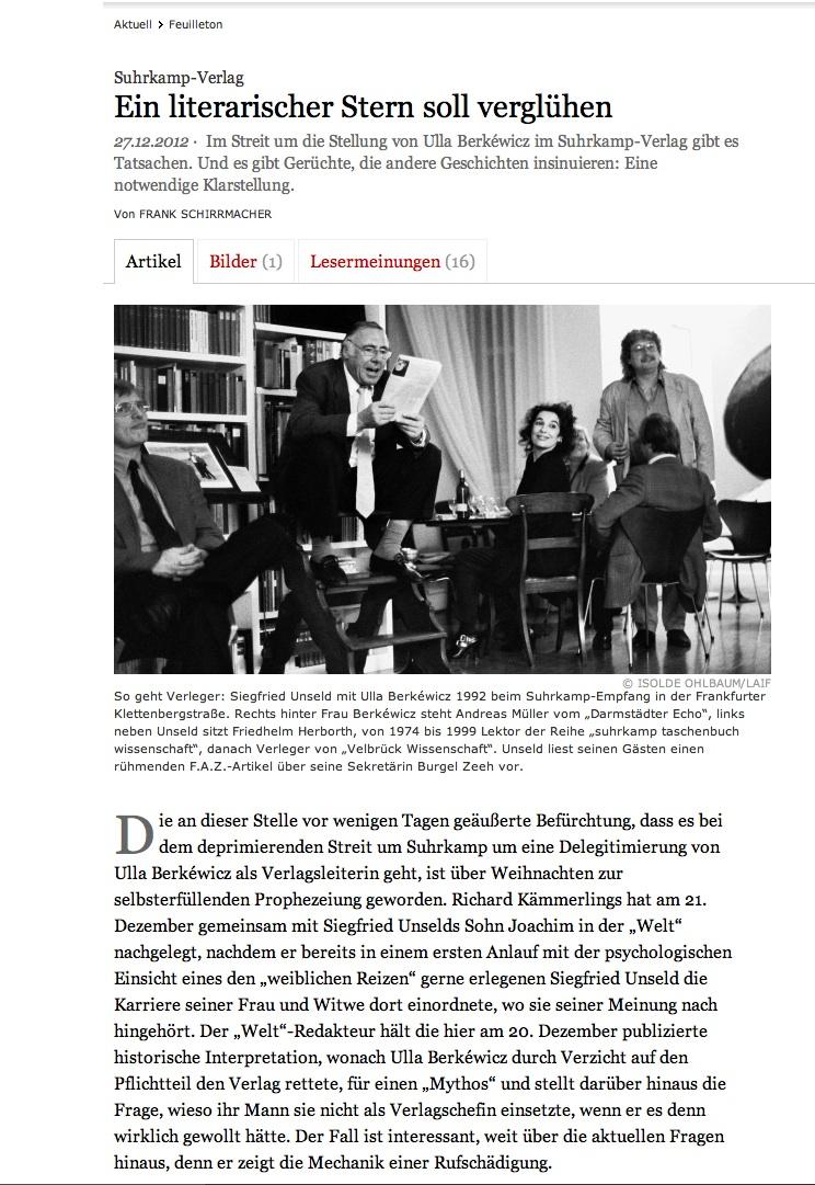 Frank Schirrmachers artikkel i Frankfurter Allgemeine Zeitung 27.12.12.