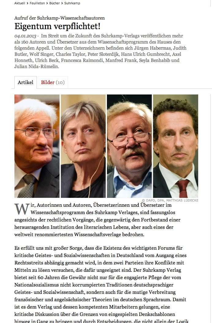 160 human- og samfunnsvitenskapelige forfatteres opprop i FAZ, 04.01.13.