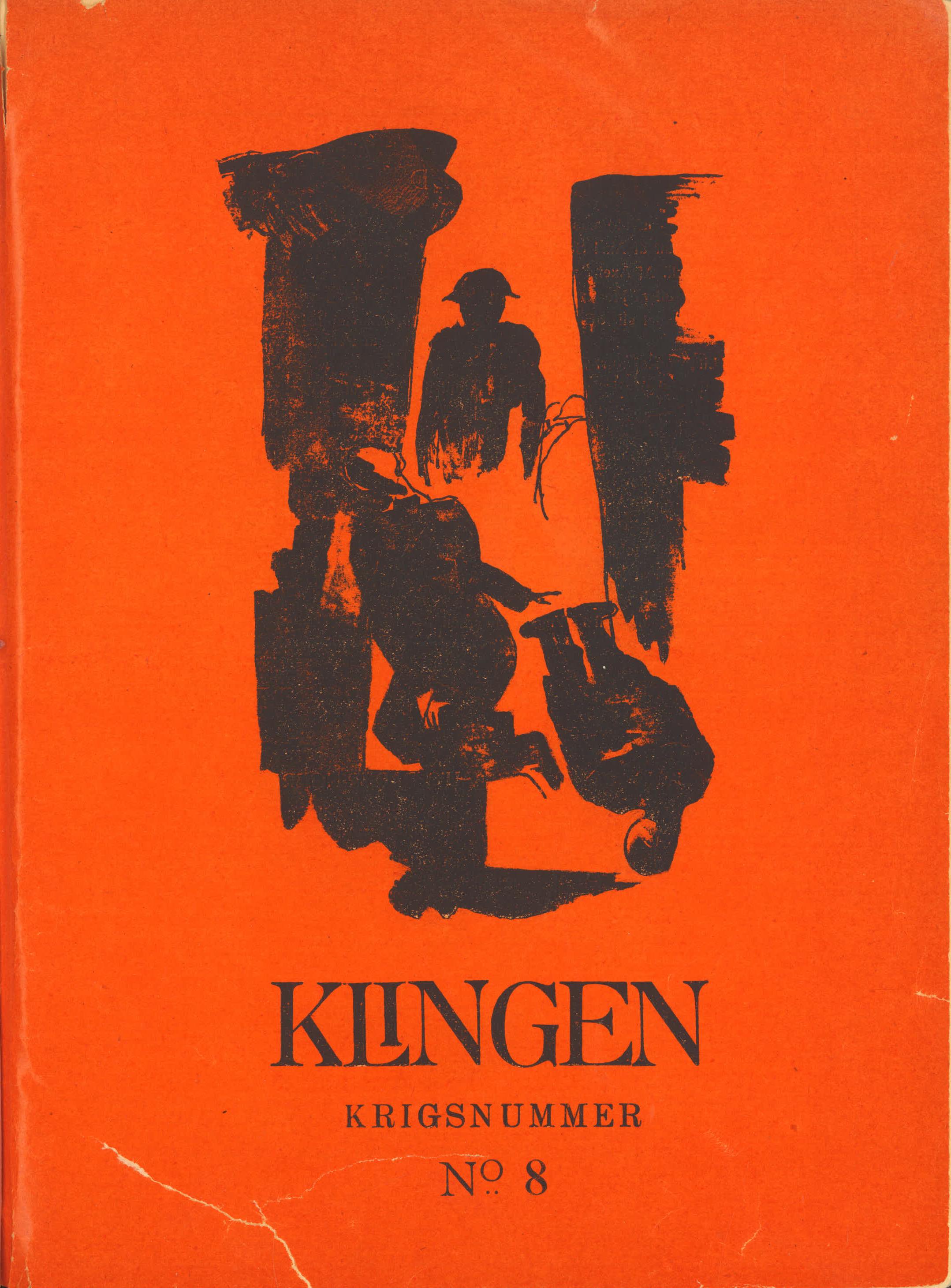 Forside på krigsnummeret til Klingen 1918, av Mogens Lorentzen.