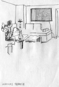 «Dagens nyandlighet och förnäma upphöjdhet odlas bäst i villakuvöser och nydesignade kök.» Illustrasjon: Andreas Töpfer.