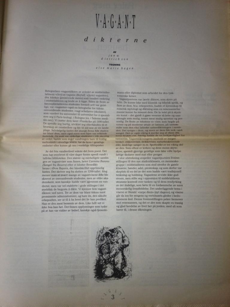 Faksimile: Jan W. Dietrichson, «Vagantdikterne» (Vagant 1/1988).