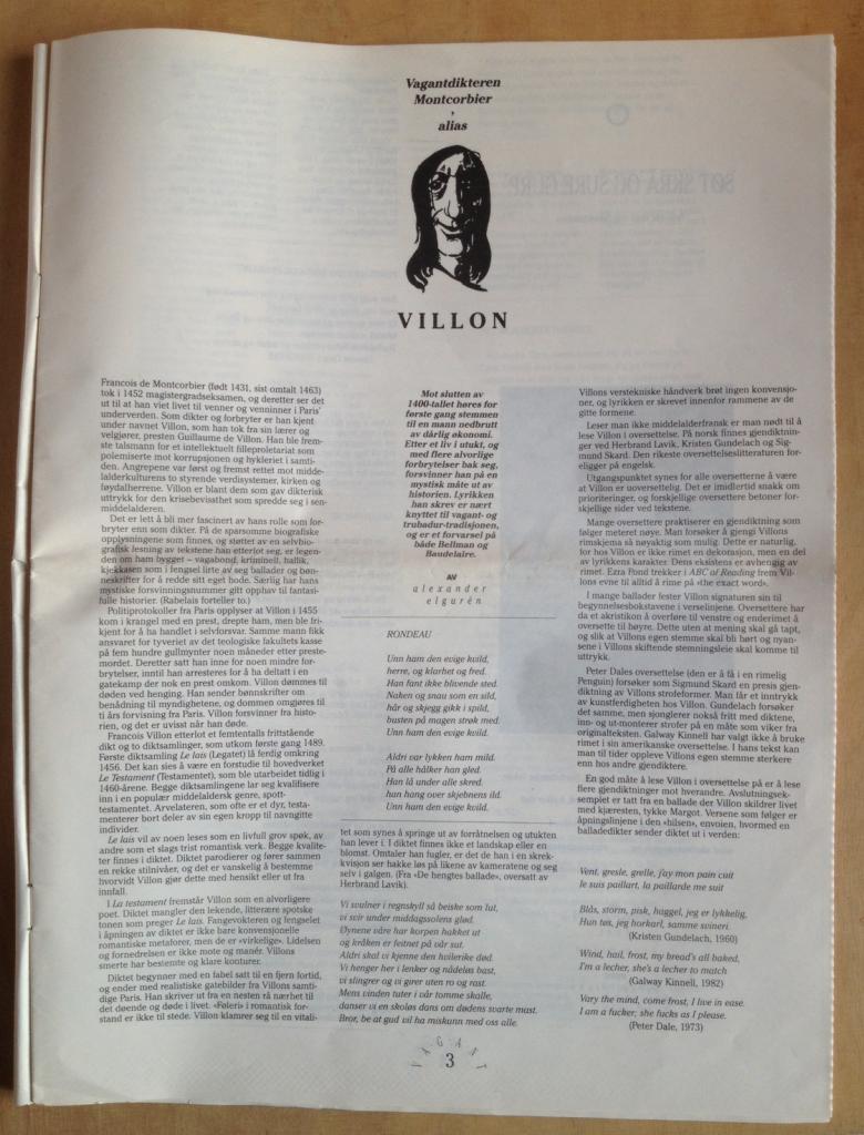 Faksimile: Alexander Elgurén, «Vagantdikteren Montcorbier alias Villon», Vagant 2/1988.