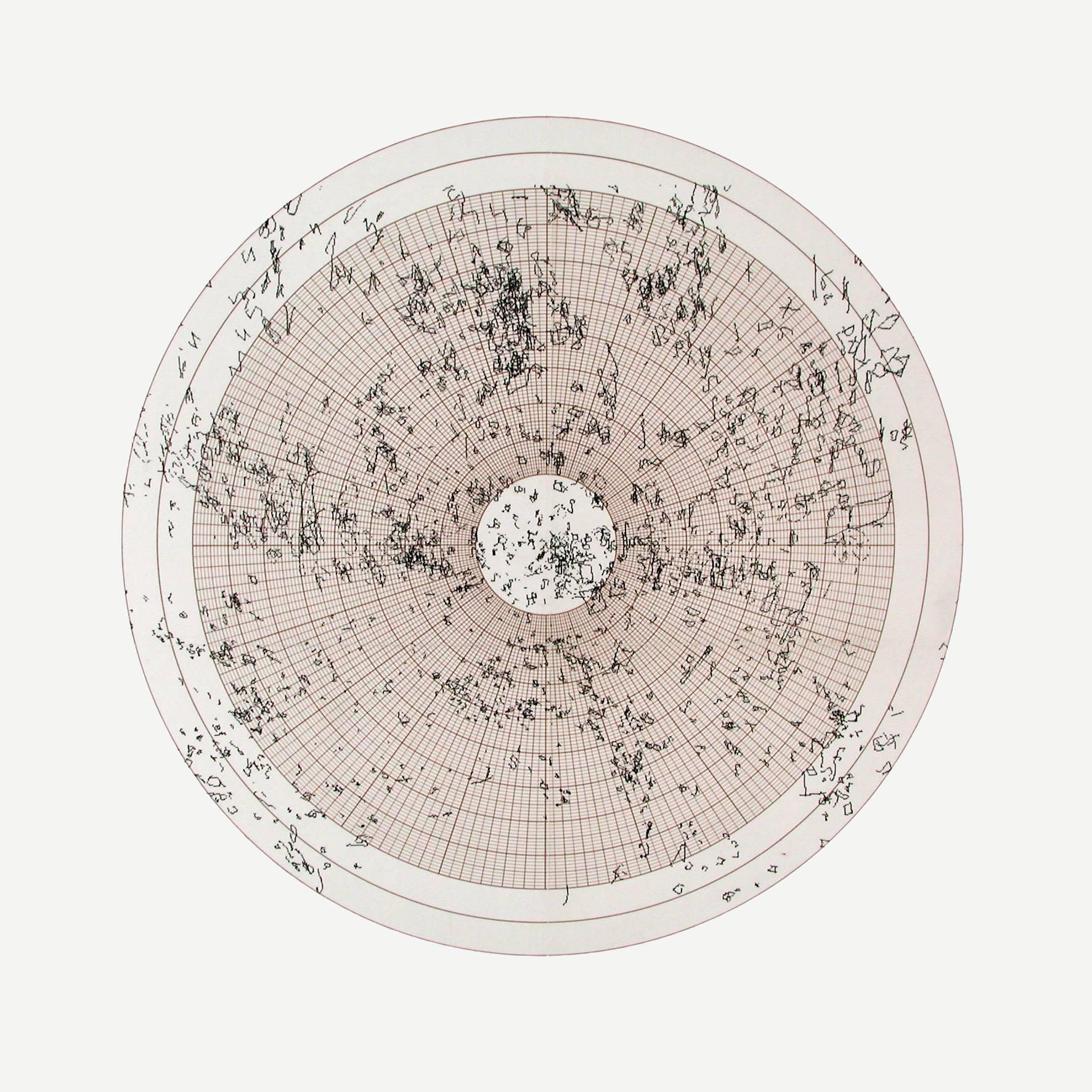 Claude Heath: Universe, 2005 Tusche auf Polarkoordinatenpapier, montiert auf Archivkarton, 73 x 51 cm Sammlung Schering Stiftung im Kupferstichkabinett, Staatliche Museen zu Berlin © Claude Heath / Courtesy Claude Heath, London