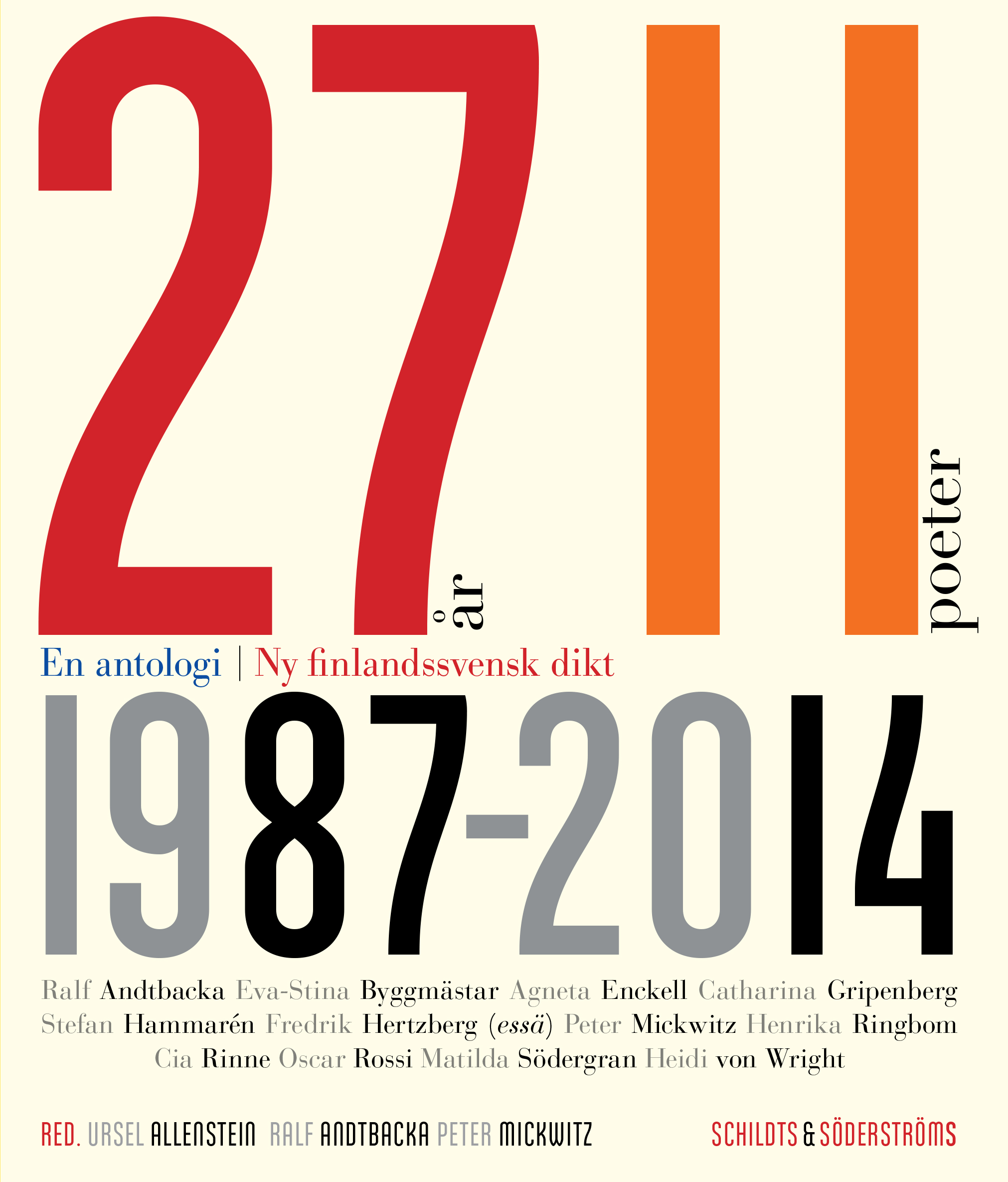 Ursel Allenstein & Ralf Andtbacka & Peter Mickwitz (red.): 27 år, elva poeter, en antologi. Ny finlandssvensk dikt 1987-2014 (Schildts og Söderströms, 2014)