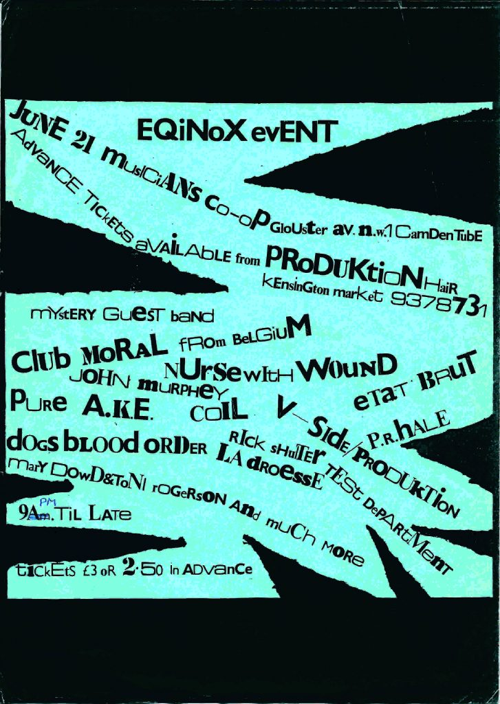 Equinox Event flyer. Image Courtesy: Ossian Brown.